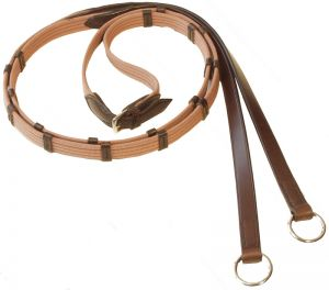 Web reins with 9 leather stops and rings